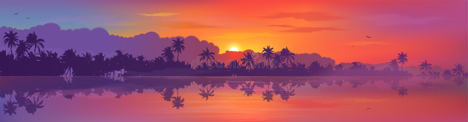 Colorful tropic sunset view to palm trees forest silhouettes with calm ocean water reflection. Vector banner. Illustration royalty free illustration