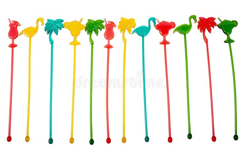 Colorful Tropical Cocktail Drinks Stir Sticks. Isolated on white stock image