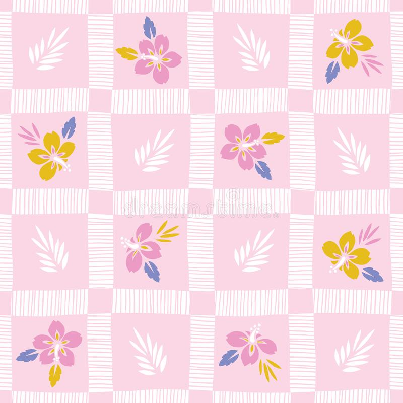 Colorful Tropical Exotic Foliage, Hibiscus Hand-Drawn Plaid Floral Vector Seamless Pattern. Palm Checkered Background stock illustration