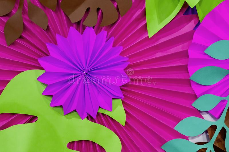 Colorful tropical paper flower background. multicolored Flowers and leaves made of paper royalty free stock photography