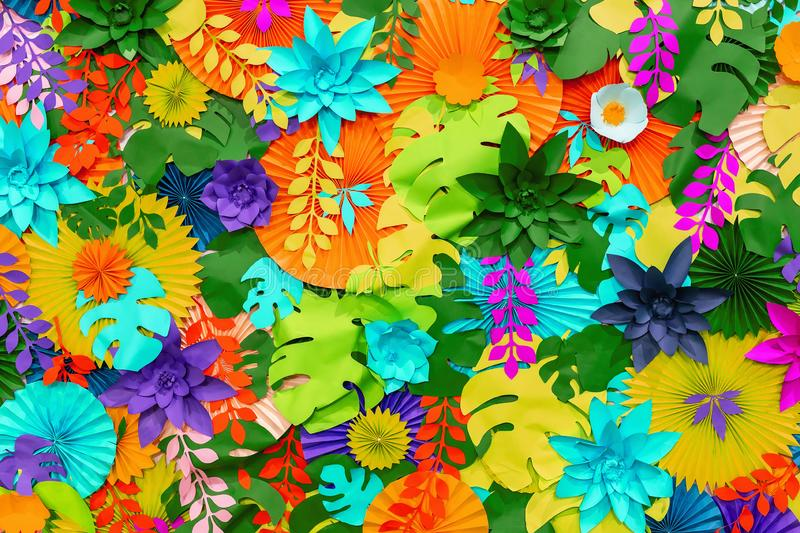 Colorful tropical paper flower background. multicolored Flowers and leaves made of paper stock image