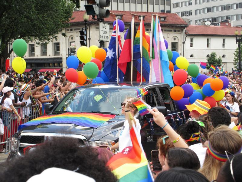 Colorful Truck at the Capital Pride Parade in Washington DC. Photo of truck and people at the capital pride parade in washington dc on 6/9/18. This parade takes royalty free stock photography