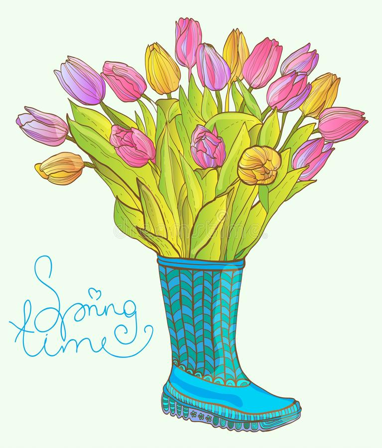 Download Colorful Tulips In The Boot Stock Illustration - Image: 30471097