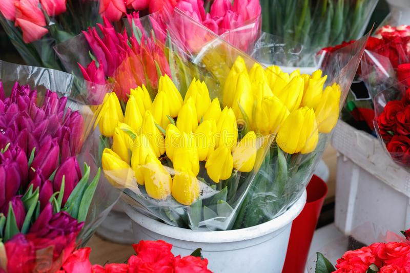 Colorful tulips, roses and other flowers in pots at entry. To small flower shop stock images