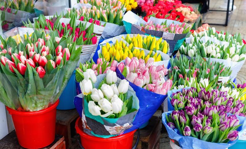 Colorful tulips, roses and other flowers in pots at entry. To small flower shop stock image