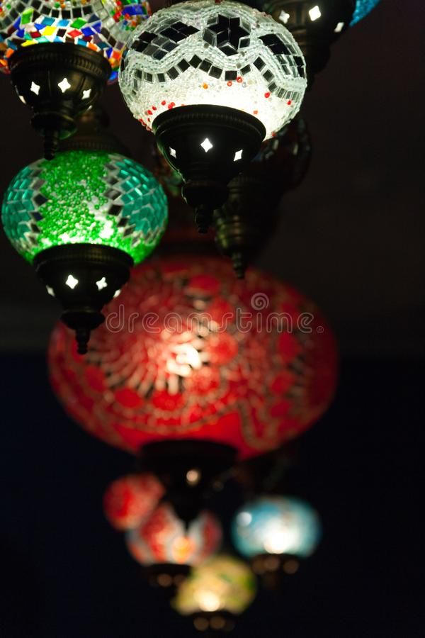 Colorful turkey mosaic glass lamps.  royalty free stock image
