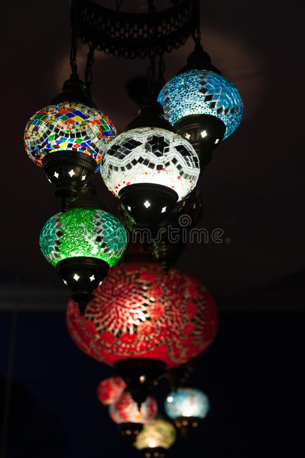 Colorful turkey mosaic glass lamps.  stock photos