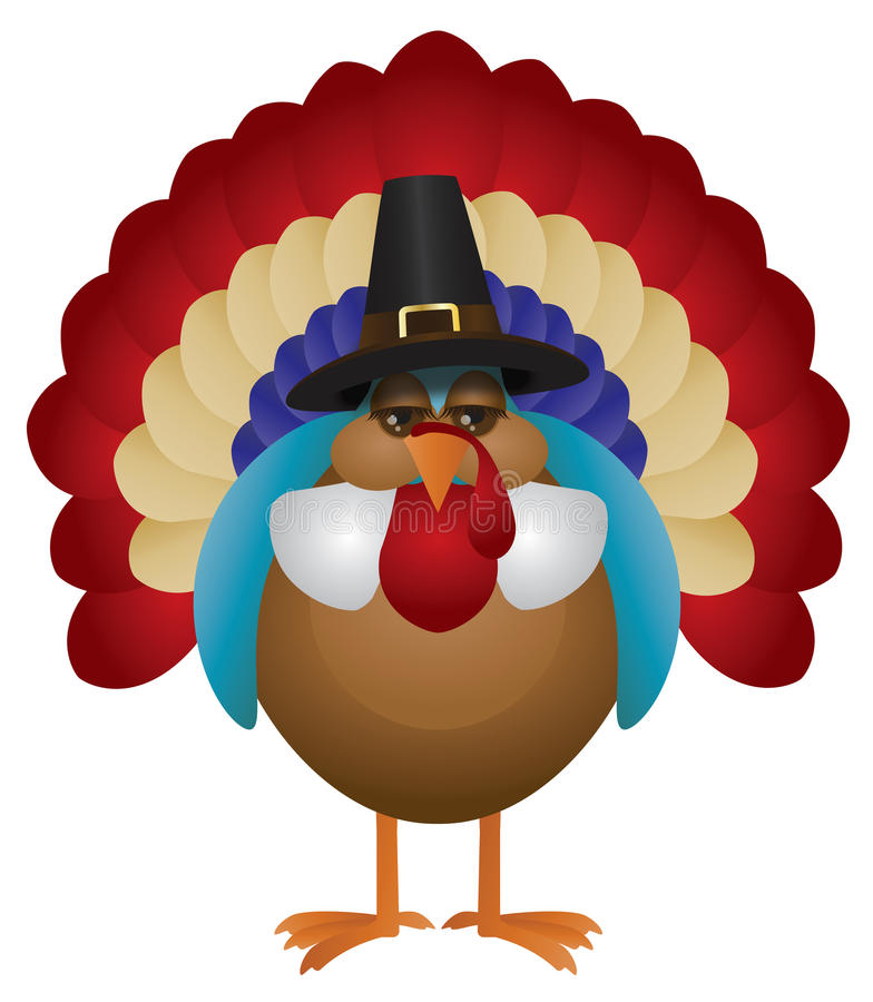 Colorful Turkey with Pilgrim Hat Illustration. Colorful Turkey with Pilgrim Hat Cute Cartoon For Thanksgiving Isolated on White Background Illustration