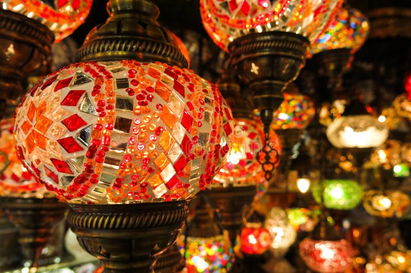 Crystal lamps for sale on the Grand Bazaar at Istanbul royalty free stock images