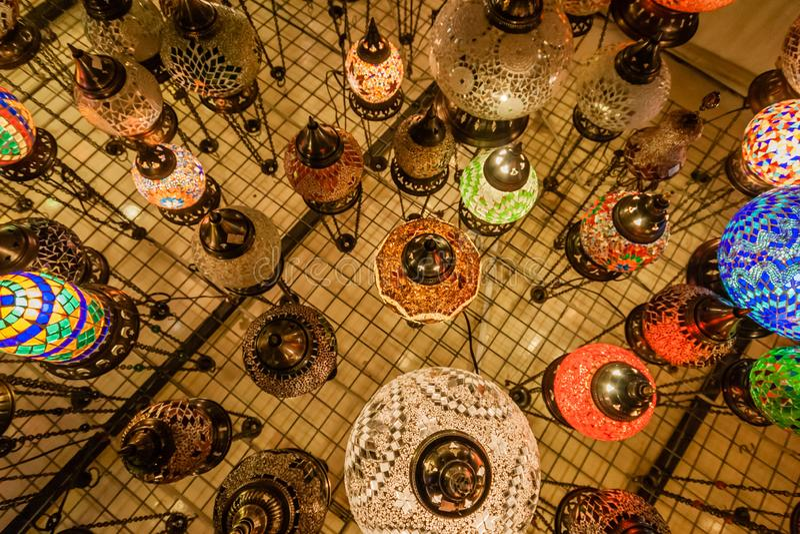 Colorful Turkish mosaic glass lanterns in Grand Bazaar. Istanbul, Turkey royalty free stock photography