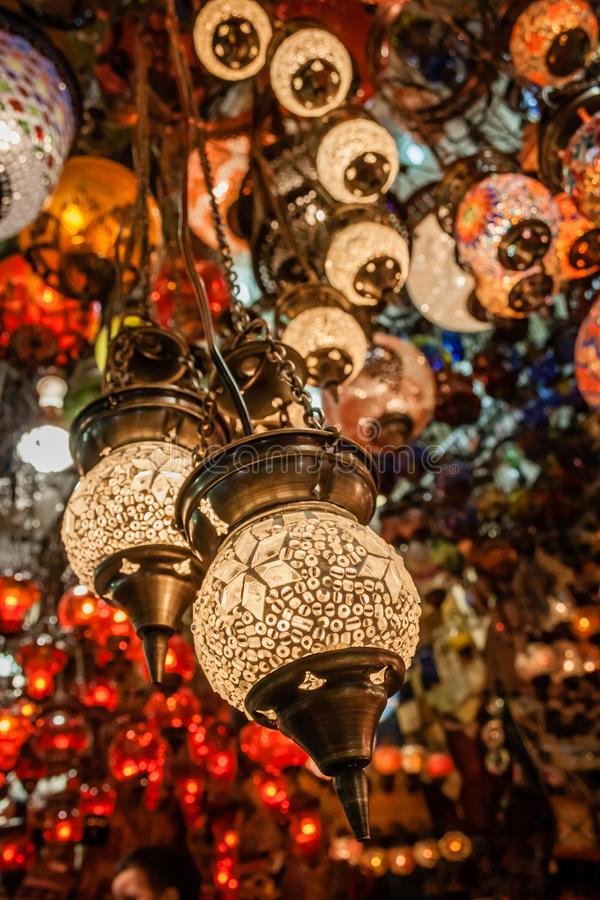 Colorful Turkish mosaic glass lanterns in Grand Bazaar. Istanbul, Turkey royalty free stock images