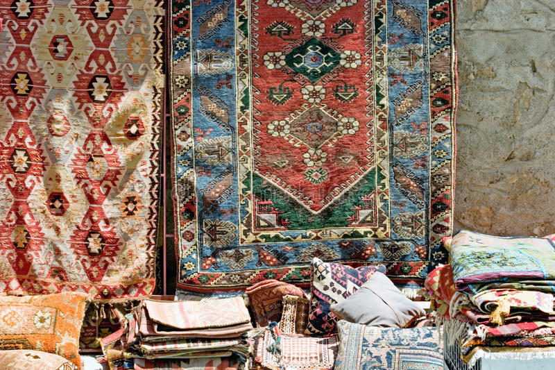 Download Colorful Turkish Rugs On Sale Stock Photo   Image: 15388148