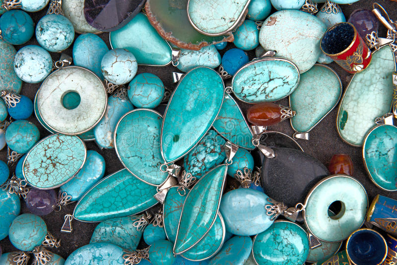 Colorful Turquoise Semi Precious Gemstones Jewelry stock image