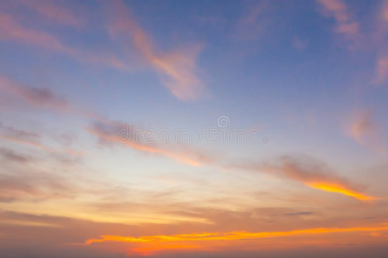 Colorful twilight sky in the early morning before sunrise with d. Ramatic cloud royalty free stock image