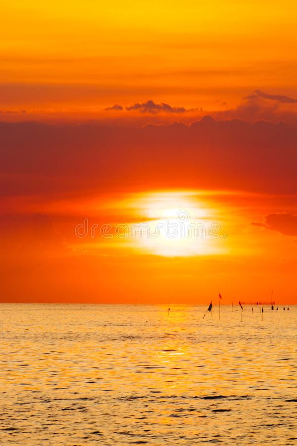 Colorful twilight sky in the sea. wide seascape serene feeling. image for background, royalty free stock photo