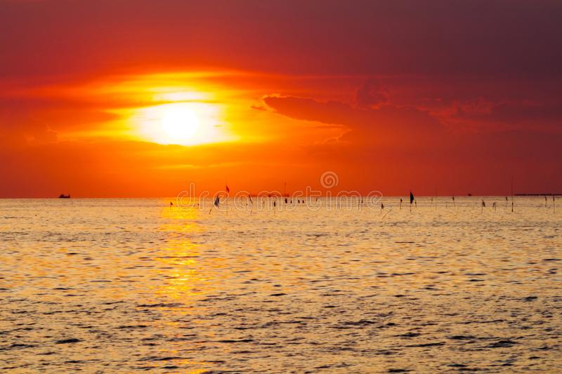 Colorful twilight sky in the sea. wide seascape serene feeling. image for background, stock photography