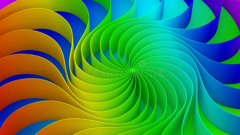 Colorful twirl curved shape. Circle on rainbow background, 3d. Abstract swirly illustration royalty free illustration