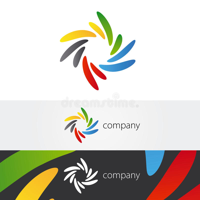 Colorful Twirl Petals Logo. Yellow, green, blue, red and gray petals twirl abstract logo royalty free illustration