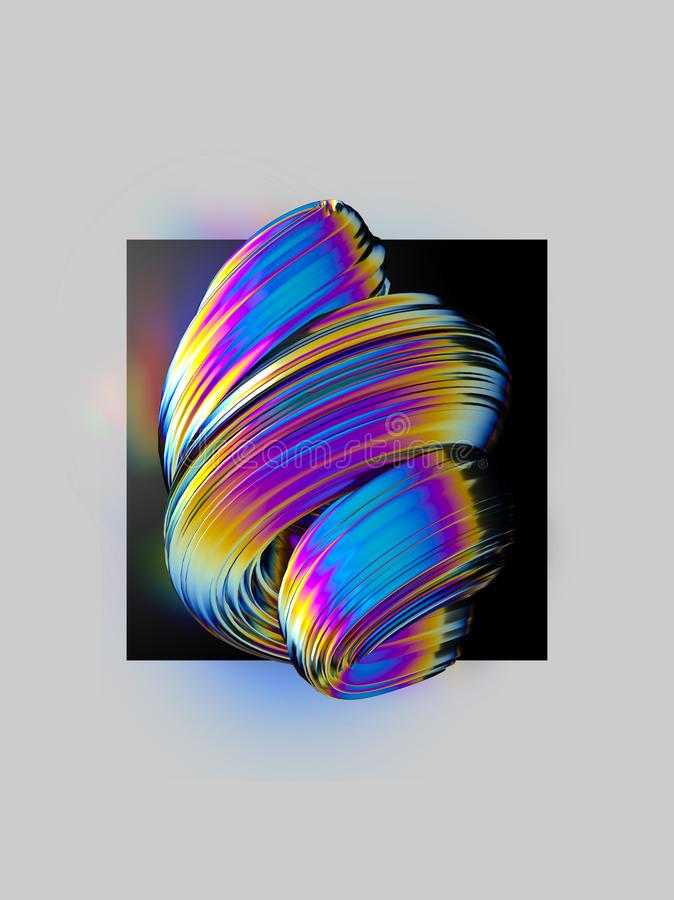 Colorful twisted abstract element on black background. Layout design template royalty free illustration