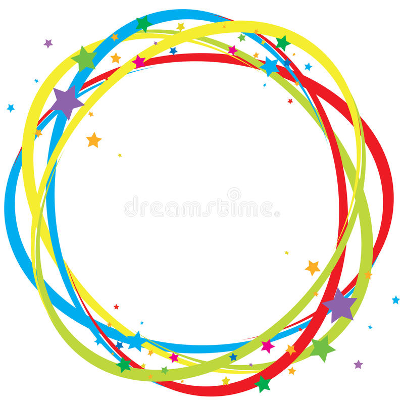 Colorful twisted frame with stars vector illustration