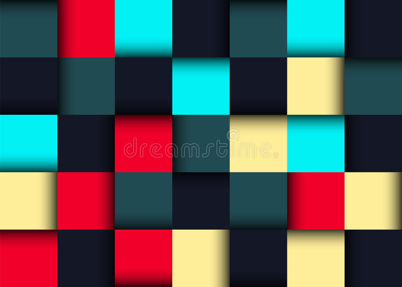 Colorful twisted seamless background of equal squares. The original geometric pattern. Vector image can be used as wallpaper or gift wrap. Blue, yellow, red stock illustration