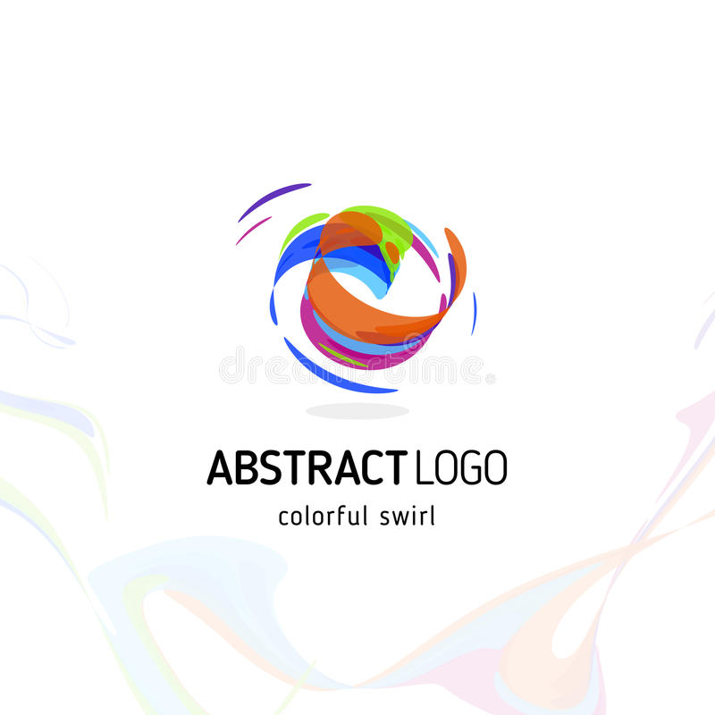 Colorful twisting swirl abstract logo. Curled dynamic circle shape, movement vector logotype. Brush stroke vector. Illustration vector illustration
