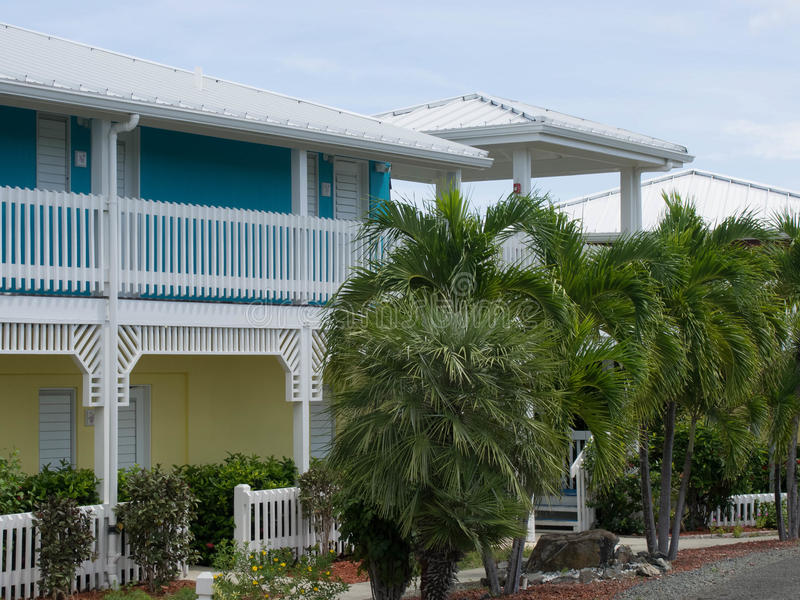 Colorful Two-Story Resort in St. Croix stock images