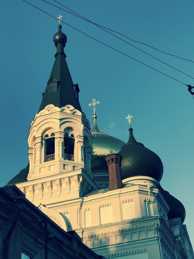 St. Panteleimon Monastery at sunset - ODESSA - UKRAINE. In the colorful Ukrainian city of Odessa is the majestic St. Panteleimon monastery. The temple was built stock images