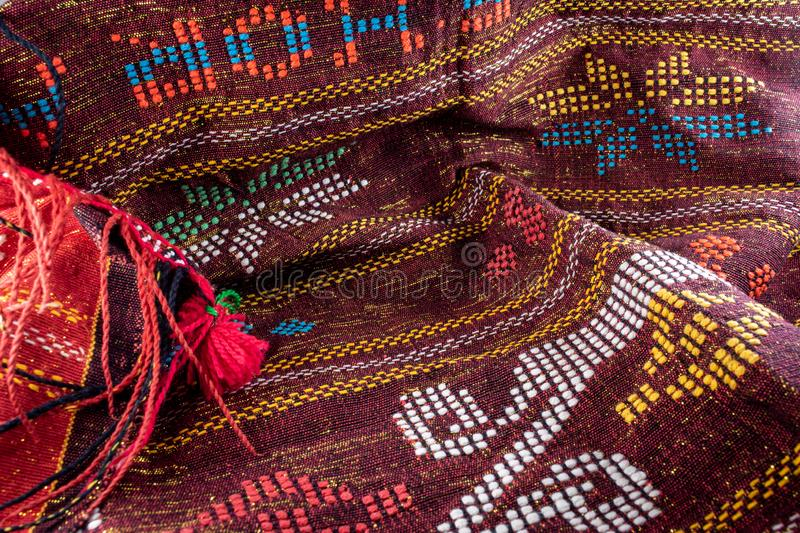 colorful ulos fabric from batak tribe indonesia. handmade royalty free stock photography