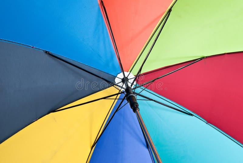 Colorful umbrella. In a garden royalty free stock photo
