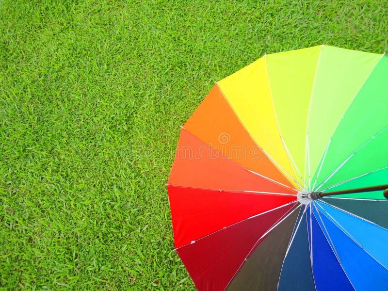 Colorful umbrella on grass stock photo