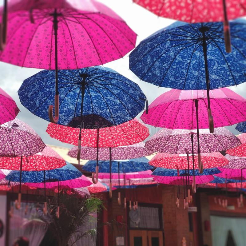 Colorful umbrella roof royalty free stock images