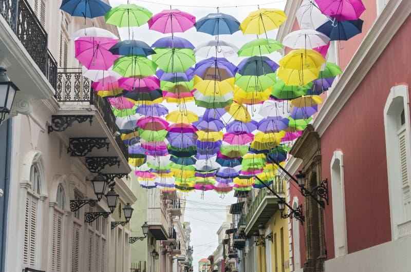 Colorful Umbrellas Adorn Streets of San Juan. Colorful umbrellas decorate the streets of old san juan puerto rico royalty free stock image