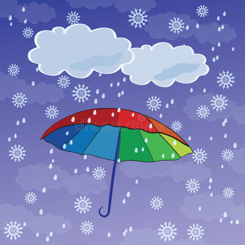 Colorful umbrellas. Against the backdrop of snow and rain vector illustration