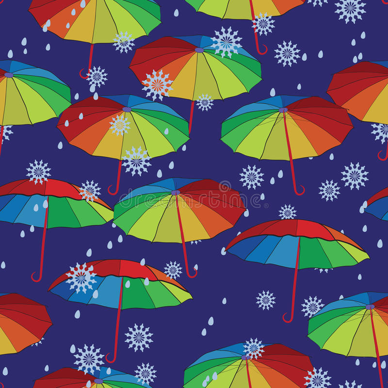Colorful umbrellas. Against the backdrop of snow and rain. Seamless texture. Designed for textiles and packaging stock illustration