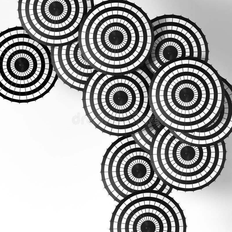 Colorful umbrellas background. Colorful umbrellas in the sky. Black and white umbrellas background. Umbrellas on a white background. Street decoration stock illustration