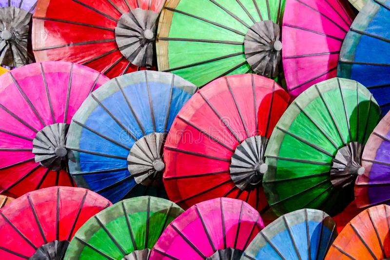 Colorful umbrellas on a background of sky, digital photo picture as a background. Colorful umbrellas on a background of sky, beautiful photo digital picture stock illustration