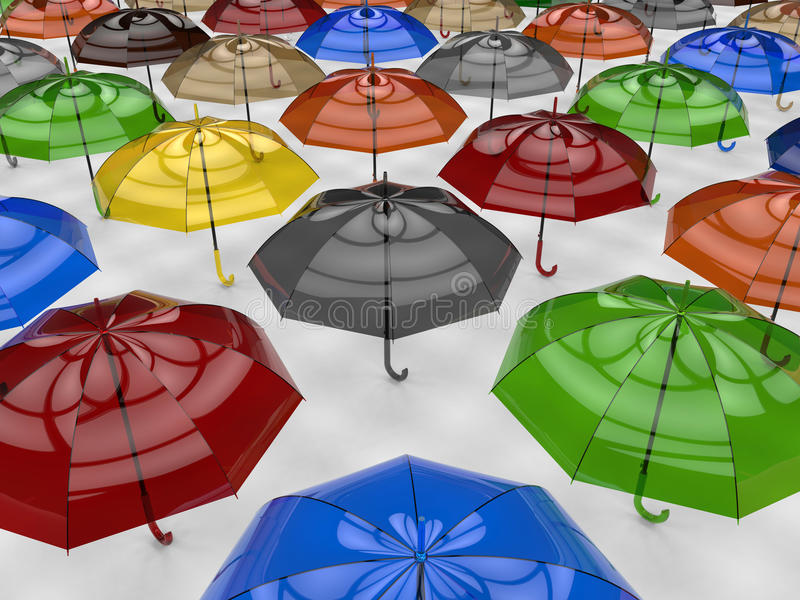 Colorful umbrellas. 3D rendered illustration of multiple colorful umbrellas. The composition is isolated on a white background with shadows stock illustration