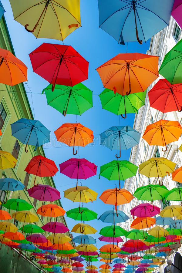 Colorful umbrellas hanging over the old streets of Timisoara city center, Romania. Photo taken on 20st of September 2018. Timisoaras, romanias, colorfuls royalty free stock image