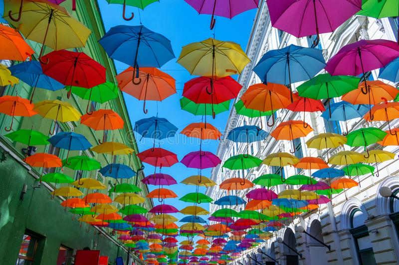 Colorful umbrellas hanging over the old streets of Timisoara city center, Romania. Photo taken on 20st of September 2018. Timisoaras, romanias, colorfuls royalty free stock images
