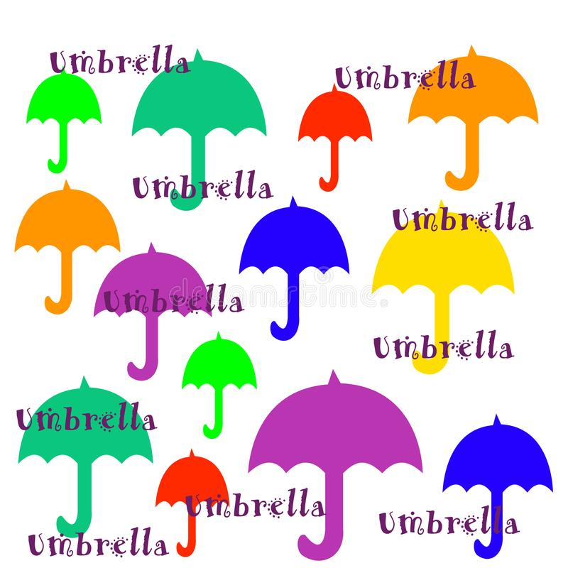 Colorful umbrellas illustration on white background. Colorful red orange blue green yellow umbrellas on white illustration with words vector illustration
