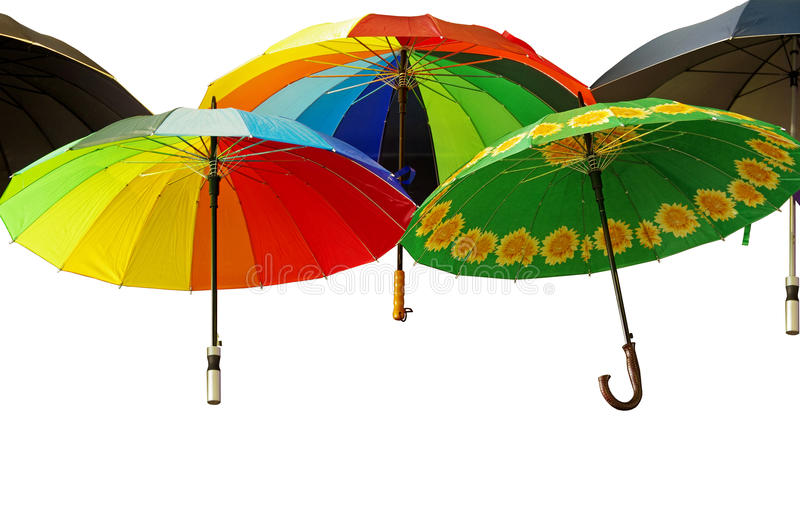 Colorful umbrellas isolated on white.  vector illustration