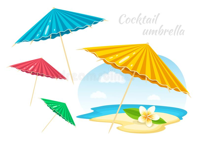 Colorful Umbrellas with Plumeria Flower. Summer Time Vacation Attribute. Decoration element. Vector Illustration stock illustration
