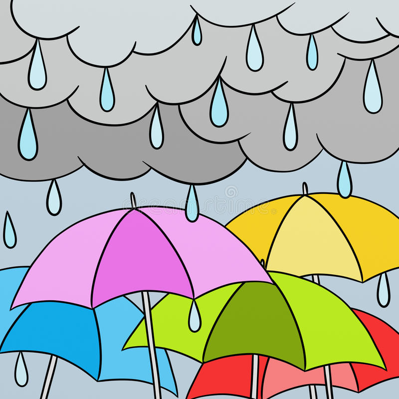Colorful umbrellas. In the rain royalty free illustration