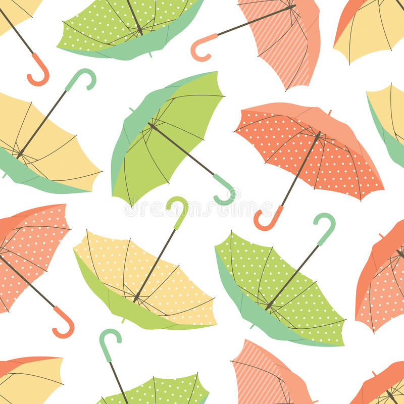 Colorful umbrellas seamless pattern. Seamless vector pattern composed of bright colorful open umbrellas; green orange and yellow shades vector illustration