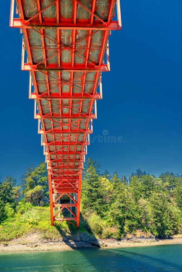 Colorful underside of Rainbow Bridge near La Conner. Orange painted substructure of Rainbow Bridge in the La Conner area of Washington State stock photos