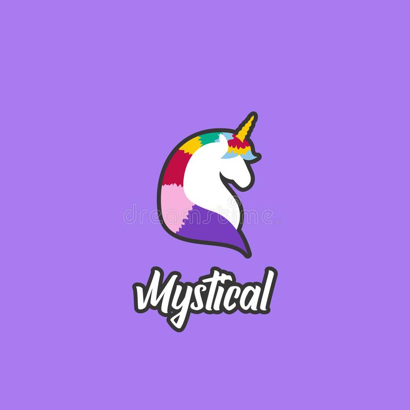 Colorful unicorn the mystical creature logo icon badge emblem cartoon illustration style with outline vector illustration