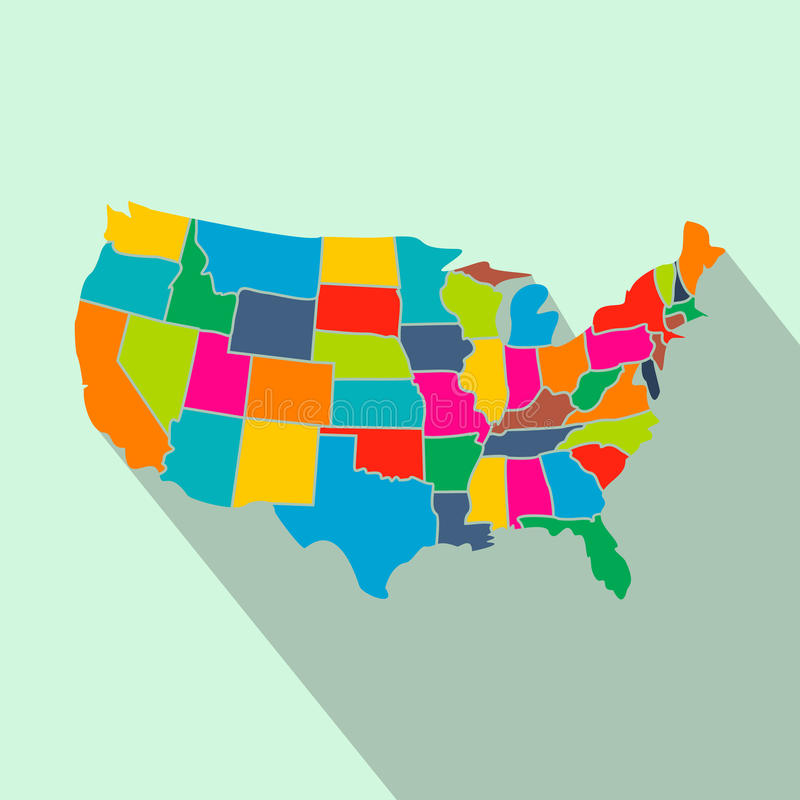 Colorful USA Map With States Flat Icon Stock Vector Image - Usa map graphic