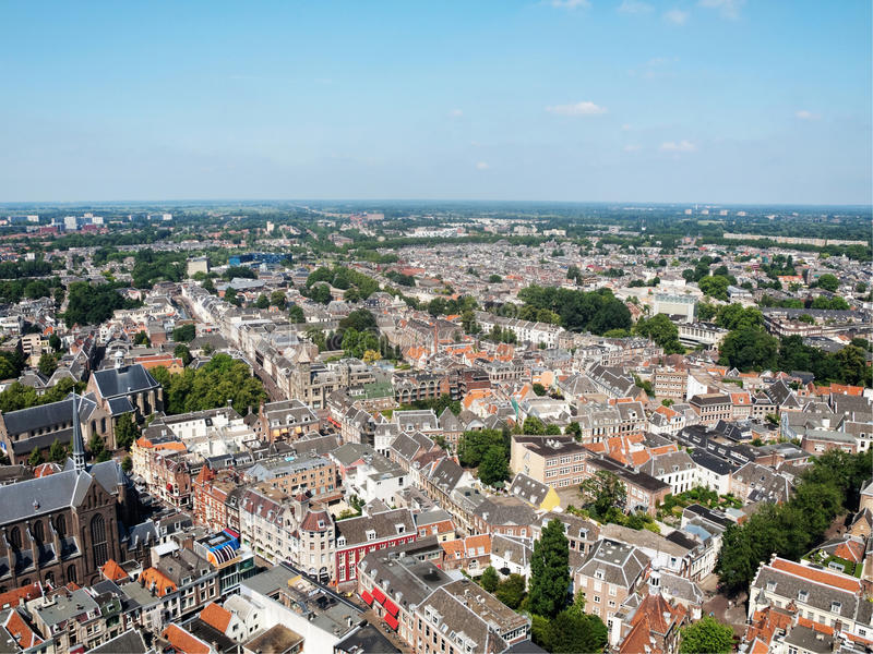 Colorful Utrecht. Areal view of Utrecht city Dom tower royalty free stock photos