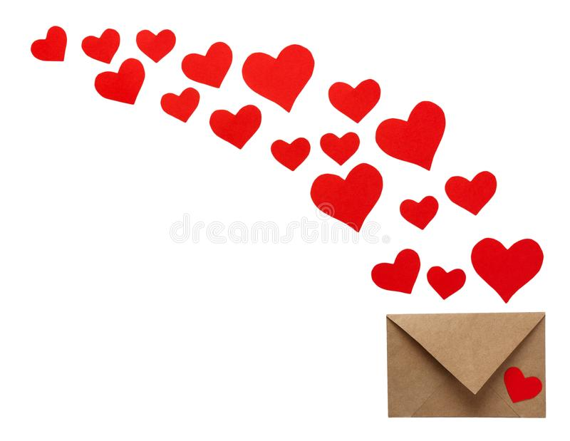 Colorful Valentine Day greeting card envelopes with heart. Red hearts pours out of the envelope isolated on white. Hearts fly out stock photo